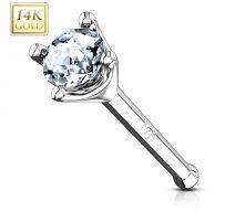 Piercing nez tige droite Or Blanc 14 carats pierre ronde
