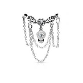 Piercing nombril inversé coeur chaines