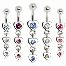 Piercing nombril triple coeur à strass
