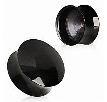 Piercing plug oreille acier noir convexe