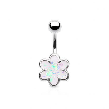 Piercing nombril fleur à 6 pétales opale blanche
