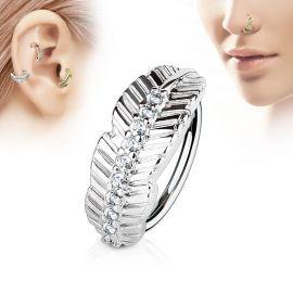Piercing nez anneau feuille strass