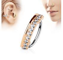 Piercing nez anneau ligne de strass doré