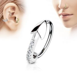 Piercing nez anneau flèche pavée de strass