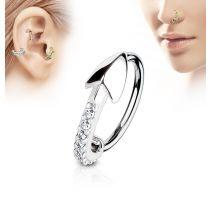 Piercing nez anneau ligne de strass