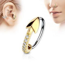 Piercing nez anneau flèche dorée pavée de strass