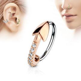 Piercing nez anneau flèche or rose pavée de strass