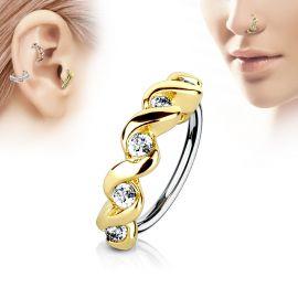 Piercing nez anneau twist doré pavé de strass