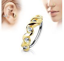 Piercing nez anneau twist pavé de strass
