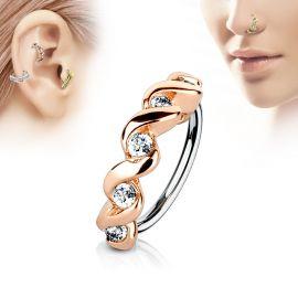 Piercing nez anneau twist rosé pavé de strass
