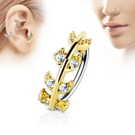 Piercing nez anneau vigne dorée pavée de strass