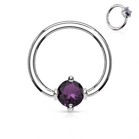 Piercing anneau captif pierre ronde violette