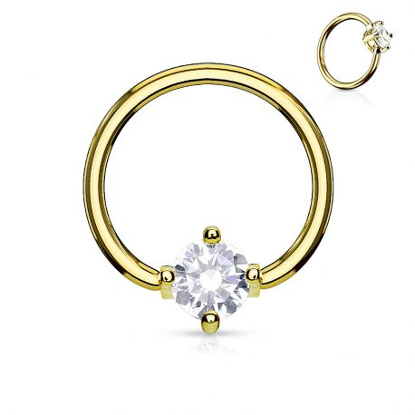 Piercing anneau captif pierre ronde blanche