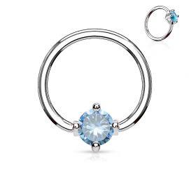 Piercing anneau captif pierre ronde turquoise
