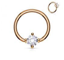 Piercing anneau captif plaqué or pierre ronde blanche