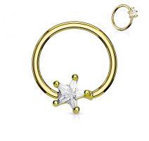 Piercing anneau captif pierre étoile blanche
