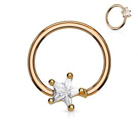 Piercing anneau captif plaqué or rose pierre étoile blanche
