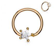 Piercing anneau captif plaqué or pierre étoile blanche