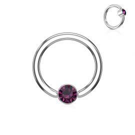 Piercing anneau captif cristal violet