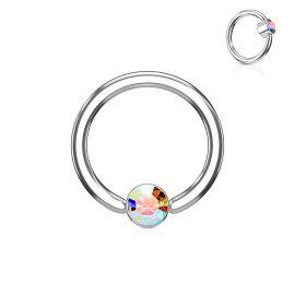 Piercing anneau captif cristal aurore boréale