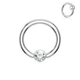 Piercing anneau captif cristal blanc