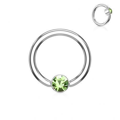 Piercing anneau captif cristal vert