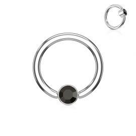 Piercing anneau captif cristal noir