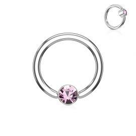 Piercing anneau captif cristal rose