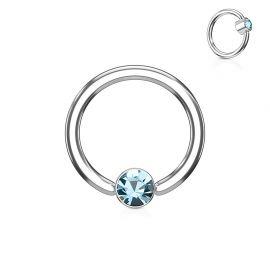 Piercing anneau captif cristal turquoise