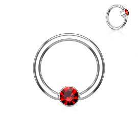 Piercing anneau captif cristal rouge