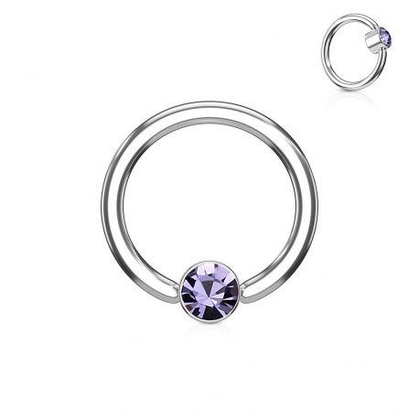 Piercing anneau captif cristal tanzanite