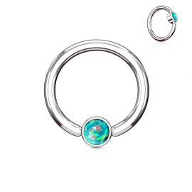 Piercing anneau captif opale verte