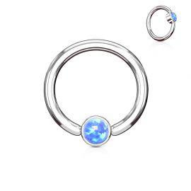 Piercing anneau captif opale bleue