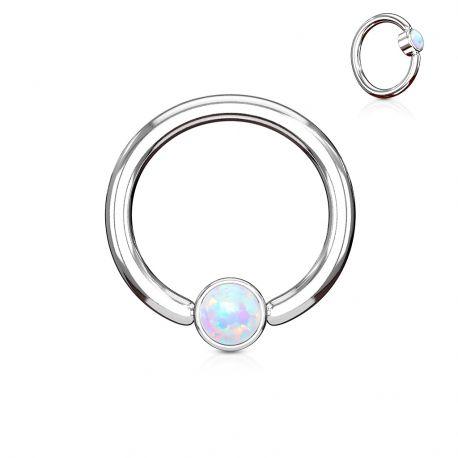 Piercing anneau captif opale blanche
