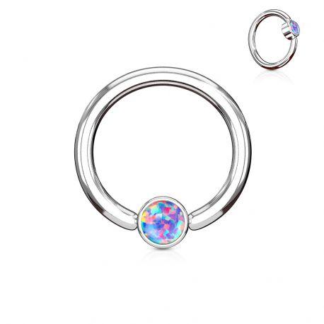 Piercing anneau captif opale violet