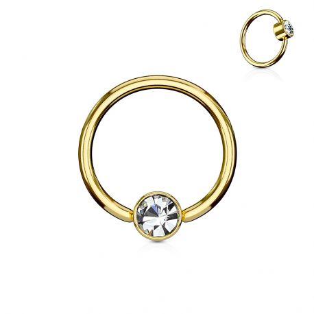 Piercing anneau captif cristal blanc acier doré
