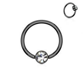 Piercing anneau captif cristal blanc acier noir
