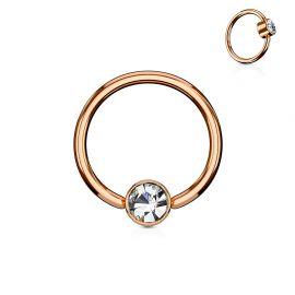 Piercing anneau captif cristal blanc acier or rose