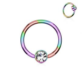 Piercing anneau captif cristal blanc acier multicolore