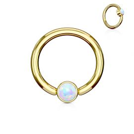 Piercing anneau captif acier doré opale blanche