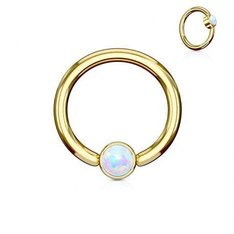 Piercing anneau captif acier doré opale bleu