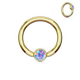 Piercing anneau captif acier doré opale violet