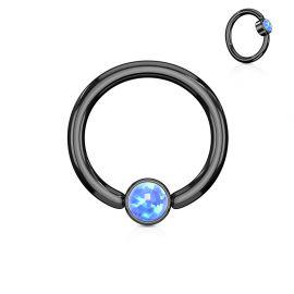 Piercing anneau captif acier noir opale bleu