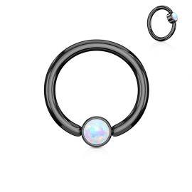 Piercing anneau captif acier noir opale blanc
