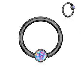 Piercing anneau captif acier noir opale violet