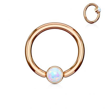 Piercing anneau captif acier rosé opale bleu