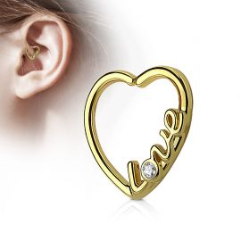 Piercing cartilage daith coeur doré love strass