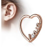 Piercing cartilage daith coeur or rosé love strass