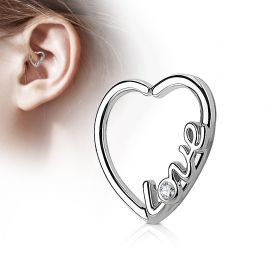 Piercing cartilage daith coeur argenté love strass