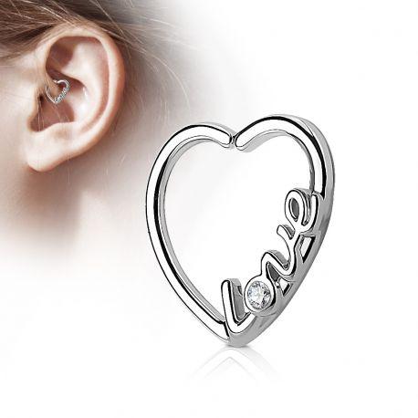 Piercing cartilage daith coeur argenté love strass